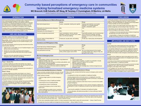 INTRODUCTION Community based perceptions of emergency care in communities lacking formalized emergency medicine systems MC Broccoli, EJB Calvello, AP Skog,