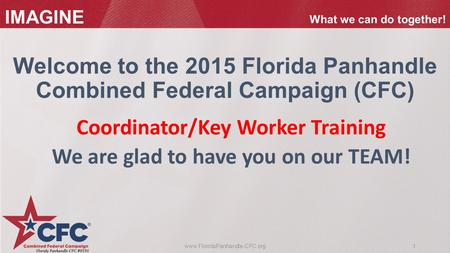 1www.FloridaPanhandle-CFC.org IMAGINE What we can do together! Coordinator/Key Worker Training We are glad to have you on our TEAM! Welcome to the 2015.