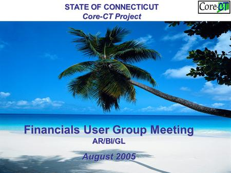 STATE OF CONNECTICUT Core-CT Project Financials User Group Meeting AR/BI/GL August 2005.