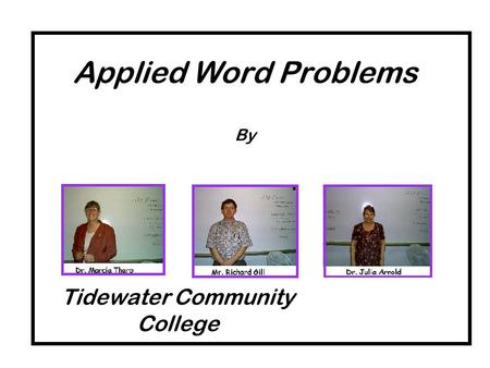 Applied Word Problems By Tidewater Community College.