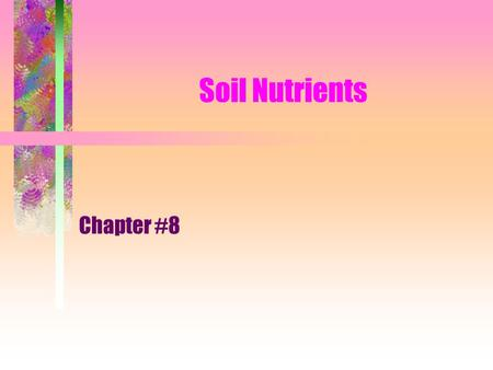 Soil Nutrients Chapter #8. What nutrients do plants get from the air and water? Carbon Hydrogen Oxygen.