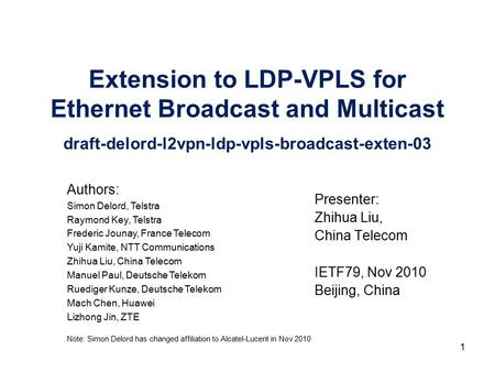 Extension to LDP-VPLS for Ethernet Broadcast and Multicast draft-delord-l2vpn-ldp-vpls-broadcast-exten-03 Presenter: Zhihua Liu, China Telecom IETF79,