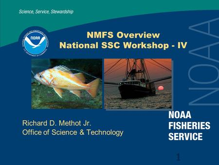 NMFS Overview National SSC Workshop - IV Richard D. Methot Jr. Office of Science & Technology 1.