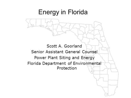 H2 FLORIDA Energy in Florida Scott A. Goorland Senior Assistant General Counsel Power Plant Siting and Energy Florida Department of Environmental Protection.