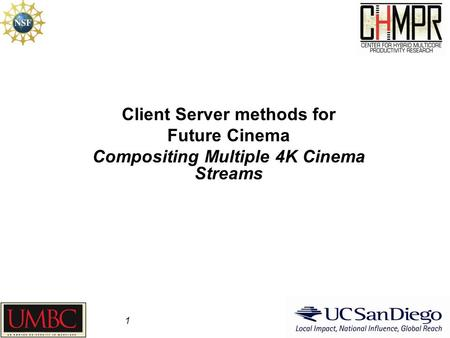 Client Server methods for Future Cinema Compositing Multiple 4K Cinema Streams 1.