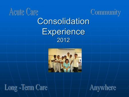 Consolidation Experience 2012. Consolidation 2012 The senior level consolidation is a 168 hours (14 -12 hr shifts or 21- 8 hr shifts) of concentrated.
