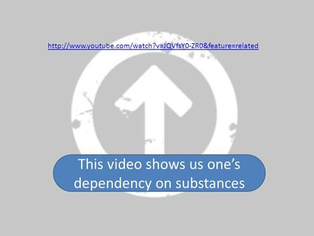 This video shows us one's dependency on substances.