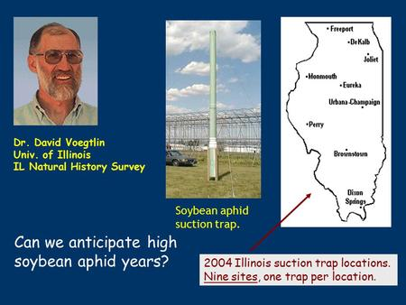 Soybean aphid suction trap. 2004 Illinois suction trap locations. Nine sites, one trap per location. Dr. David Voegtlin Univ. of Illinois IL Natural History.