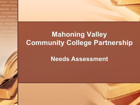 Mahoning Valley Community College Partnership Needs Assessment.