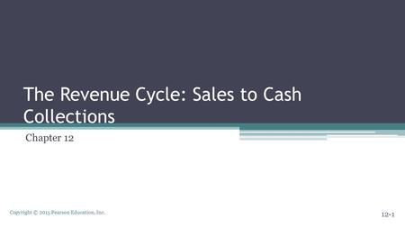 Copyright © 2015 Pearson Education, Inc. The Revenue Cycle: Sales to Cash Collections Chapter 12 12-1.