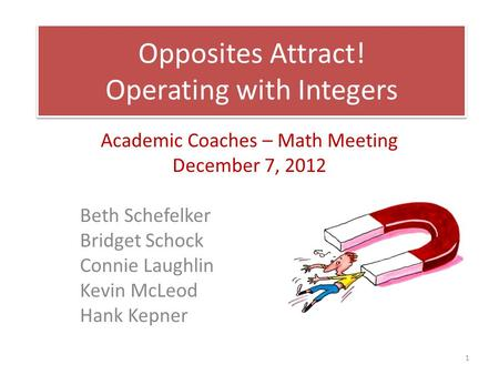 Opposites Attract! Operating with Integers Academic Coaches – Math Meeting December 7, 2012 Beth Schefelker Bridget Schock Connie Laughlin Kevin McLeod.