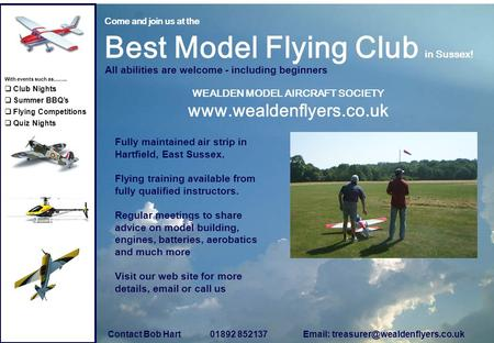 Come and join us at the Best Model Flying Club in Sussex! All abilities are welcome - including beginners WEALDEN MODEL AIRCRAFT SOCIETY www.wealdenflyers.co.uk.