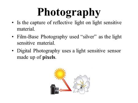 "Photography Is the capture of reflective light on light sensitive material. Film-Base Photography used ""silver"" as the light sensitive material. Digital."