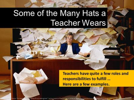 Some of the Many Hats a Teacher Wears Teachers have quite a few roles and responsibilities to fulfill … Here are a few examples. Copyright © Notice: The.