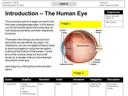 ScreenGraphicsNarrationAudioAnimationNavigationDescription 1: IntroductionImage 1: the_human_eye.p ng Image 2: continue_btn.jpg None Continue: The <strong>Human</strong>.