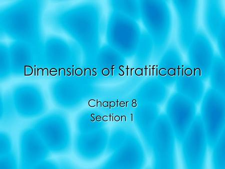 Dimensions of Stratification Chapter 8 Section 1 Chapter 8 Section 1.