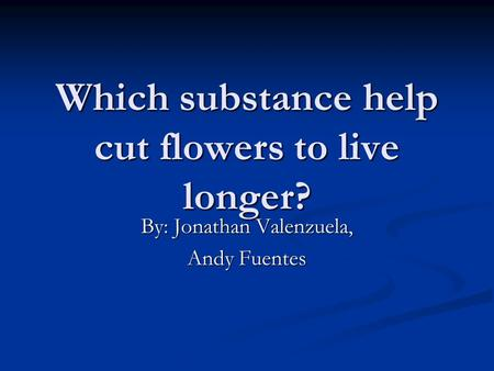 Which substance help cut flowers to live longer? By: Jonathan Valenzuela, Andy Fuentes.