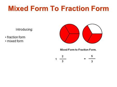 Introducing: fraction form mixed form Mixed Form To Fraction Form.