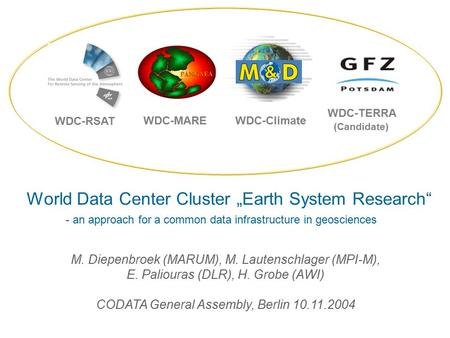 M. Diepenbroek (MARUM), M. Lautenschlager (MPI-M), E. Paliouras (DLR), H. Grobe (AWI) CODATA General Assembly, Berlin 10.11.2004 World Data Center Cluster.