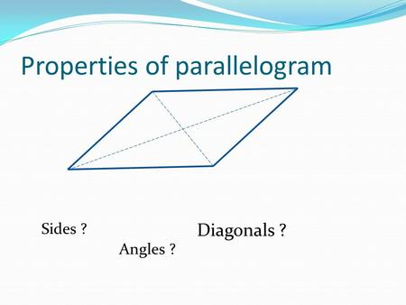 Properties of parallelogram