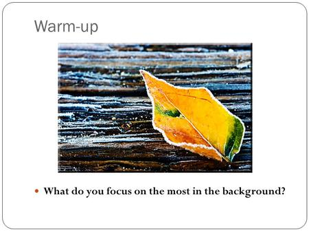 Warm-up What do you focus on the most in the background?