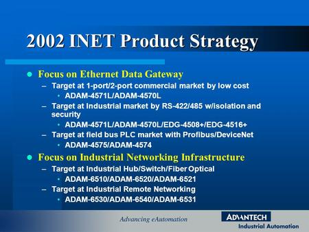 2002 INET Product Strategy Focus on Ethernet Data Gateway –Target at 1-port/2-port commercial market by low cost ADAM-4571L/ADAM-4570L –Target at Industrial.