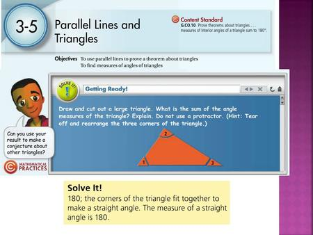 Students will explicitly define, use, and calculate exterior and interior angles of triangles.