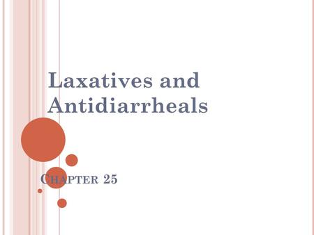 C HAPTER 25 Laxatives and Antidiarrheals. C ONSTIPATION Passage of feces through the lower GI tract is slow or nonexistent May be caused by - ignoring.
