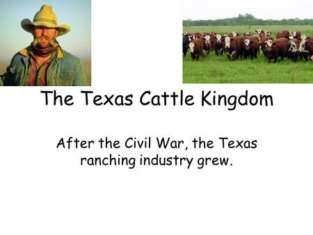 The Texas Cattle Kingdom After the Civil War, the Texas ranching industry grew.