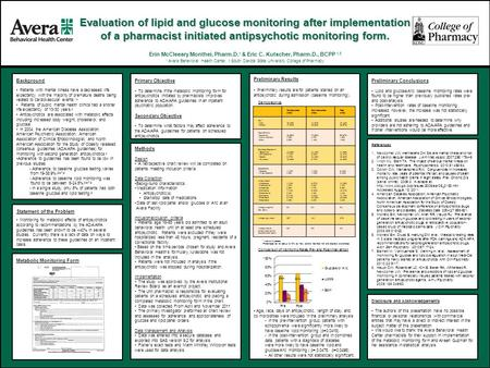 Evaluation of lipid and glucose monitoring after implementation of a pharmacist initiated antipsychotic monitoring form. Erin McCleeary Monthei, Pharm.D.