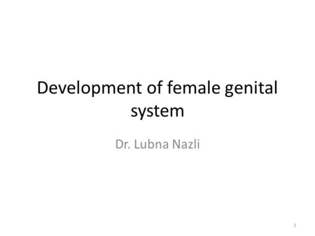 Development of female genital system