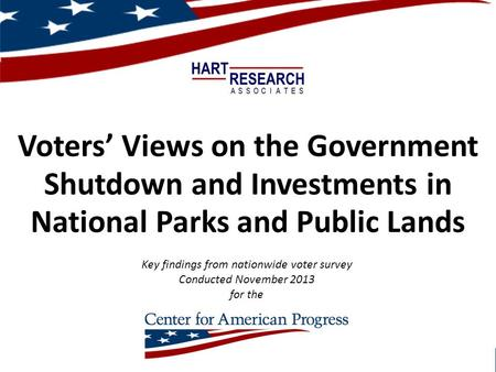 Voters' Views on the Government Shutdown and Investments in National Parks and Public Lands November 2013 – Hart Research for Center for American Progress.