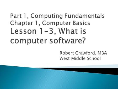 Robert Crawford, MBA West Middle School.  Describe what an operating system does.  Summarize why compatibility is an issue for computer users.  Explain.