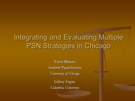 Integrating and Evaluating Multiple PSN Strategies in Chicago Trace Meares Andrew Papachristos University of Chicago Jeffrey Fagan Columbia University.