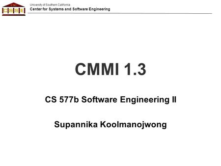 CS 577b Software Engineering II -- Introduction