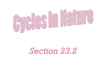 Section 23.2. Water Cycle Evaporation Condensation Precipitation Collection Percolation Transpiration Perspiration.