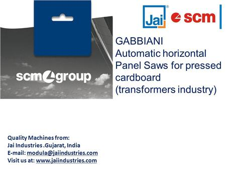GABBIANI Automatic horizontal Panel Saws for pressed cardboard (transformers industry) Quality Machines from: Jai Industries.Gujarat, India