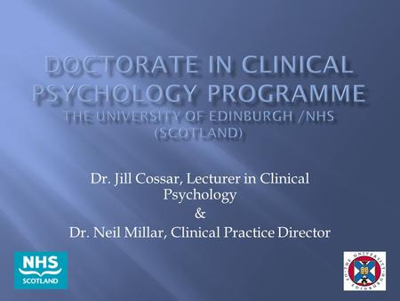 Dr. Jill Cossar, Lecturer in Clinical Psychology &