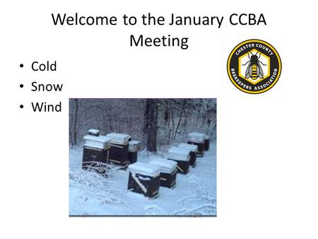 Welcome to the January CCBA Meeting Cold Snow Wind.