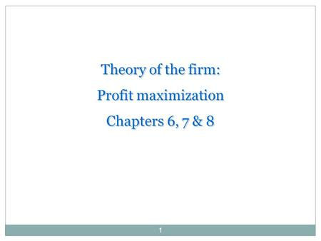alternative theories to profit maximization R larry reynolds 2005 alternative microeconomics – part ii, chapter 13– market  power page 1 r larry reynolds  the economic theory of monopolistic  competitive  if the firm in an imperfectly competitive market has profit  maximization.