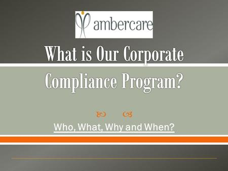  Who, What, Why and When?. 1. What is Corporate Compliance and a Compliance Program? 2. Reasons for and Value of an Effective Compliance Program 3. Essential.