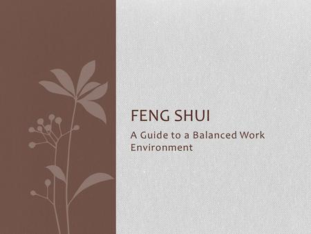 A Guide to a Balanced Work Environment FENG SHUI.