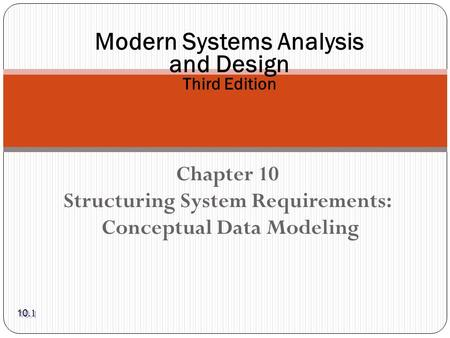 Chapter 10 Structuring System Requirements: Conceptual Data Modeling Modern Systems Analysis and Design Third Edition 10.1.
