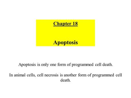 Apoptosis is only one form of programmed cell death.