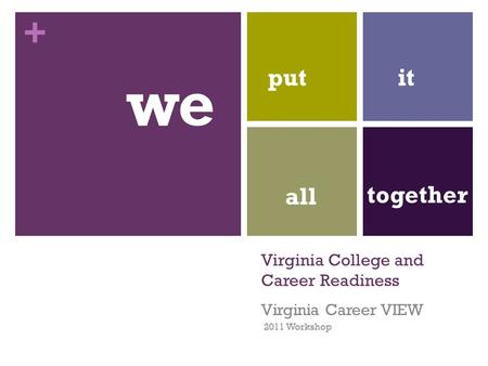 + Virginia College and Career Readiness Virginia Career VIEW 2011 Workshop we putit all together.