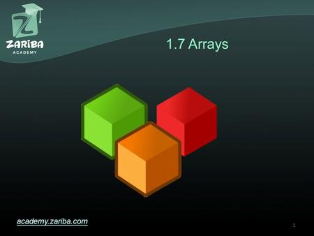 1.7 Arrays academy.zariba.com 1. Lecture Content 1.Basic Operations with Arrays 2.Console Input & Output of Arrays 3.Iterating Over Arrays 4.List 5.Cloning.