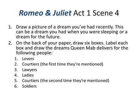 Romeo & Juliet Act 1 Scene 4 1.Draw a picture of a dream you've had recently. This can be a dream you had when you were sleeping or a dream for the future.