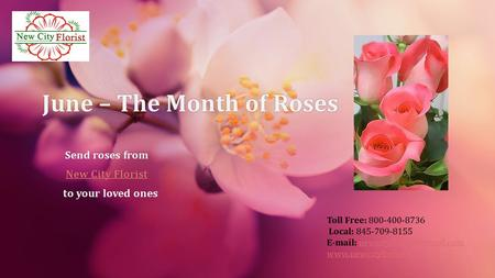Toll Free: 800-400-8736 Local: 845-709-8155    June – The Month of RosesJune.