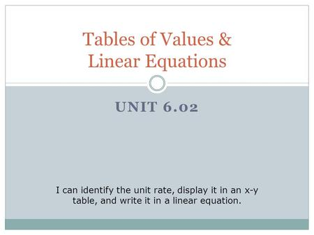 UNIT 6.02 Tables of Values & Linear Equations I can identify the unit rate, display it in an x-y table, and write it in a linear equation.