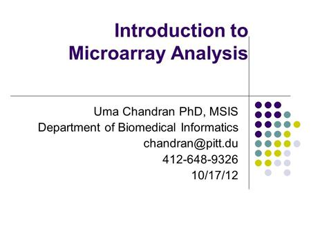 Introduction to Microarray Analysis